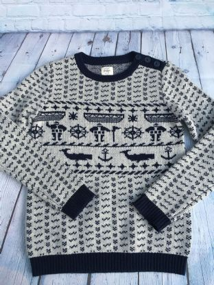 Mini Boden boys navy and cream wool winter jumper